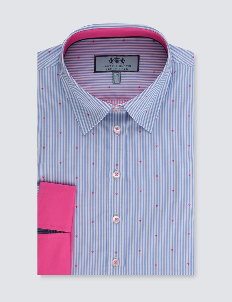Women's Blue & White Pin stripe Semi Fitted 3 Quarter Sleeve Shirt