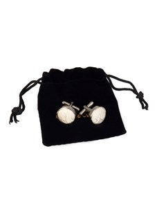 Men's Cream Paisley Silk Cufflinks