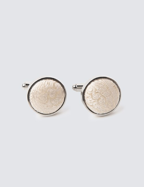 Men's Cream Paisley Silk Cufflinks