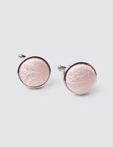 Hochzeits Kollektion – Manschettenknöpfe – Seide – Paisley rosa