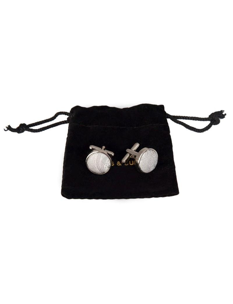 Hochzeits Kollektion – Manschettenknöpfe – Seide – Paisley silbern