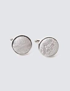 Men's Silver Paisley Silk Cufflinks