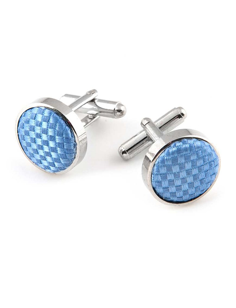 Men's Light Blue Cufflink - 100% Silk