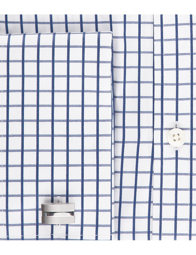 Men's Formal Navy & White Medium Check Extra Slim Fit Shirt - Double Cuff - Easy Iron