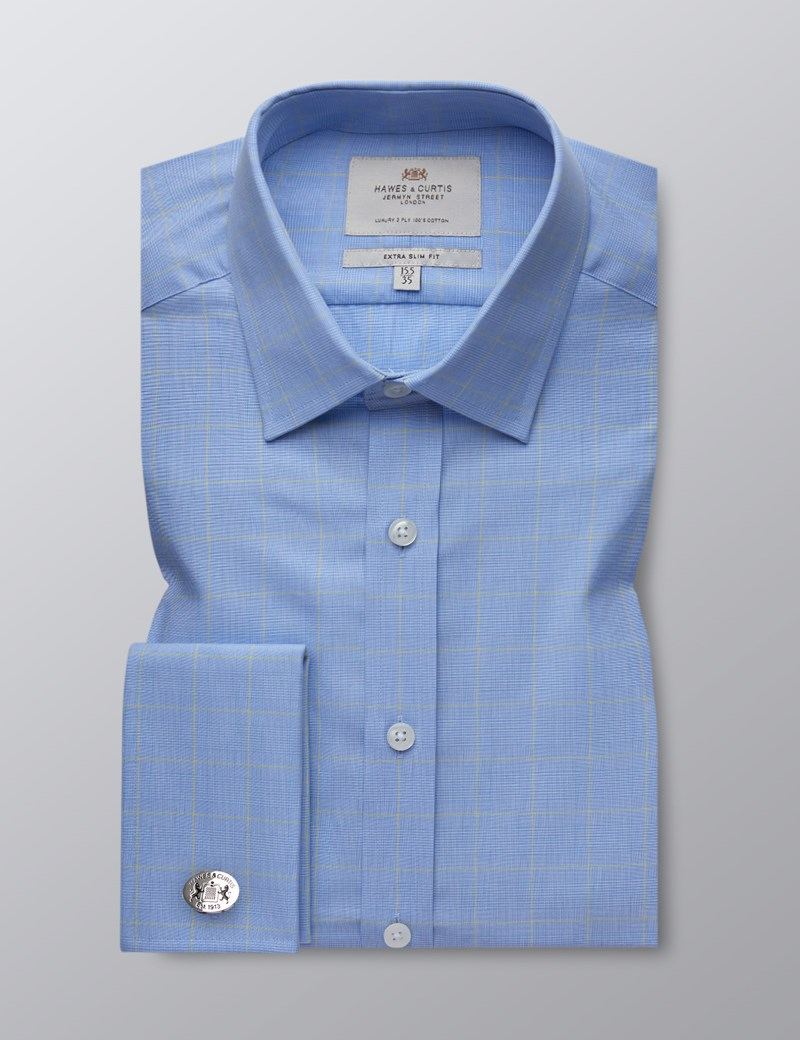 Men's Blue & Yellow Prince of Wales Check Extra Slim Fit Dress Shirt - French Cuff - Easy Iron