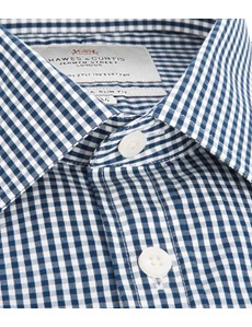Men's White & Navy Gingham Extra Slim Fit Dress Shirt - French Cuff - Easy Iron