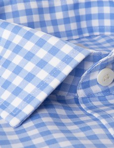 Men's Dress Blue & White Large Gingham Plaid Extra Slim Fit Shirt - French Cuff - Non Iron