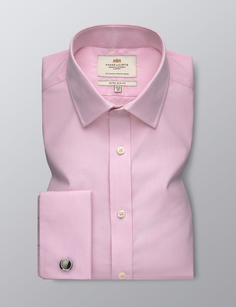 Men's Dress Pink Small Gingham Plaid Extra Slim Fit Shirt - Double Cuff - Easy Iron