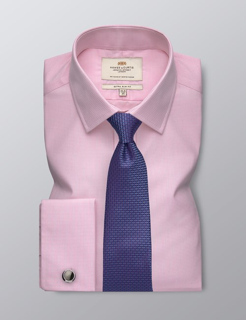 Men's Formal Pink Small Gingham Check Extra Slim Fit Shirt - Double Cuff - Easy Iron