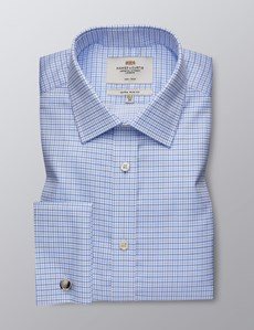 Men's Dress White & Blue Grid Plaid Extra Slim Fit Shirt - French Cuff - Non Iron