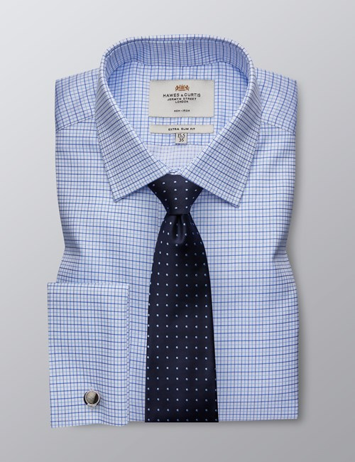 Men's Formal White & Blue Grid Check Extra Slim Fit Shirt - Double Cuff - Non Iron