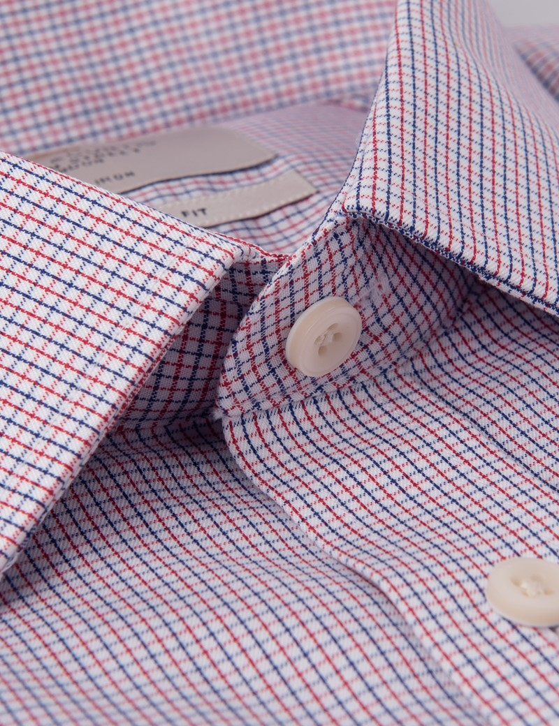Men's Business Red & Blue Grid Check Extra Slim Fit Shirt - Double Cuff - Non Iron