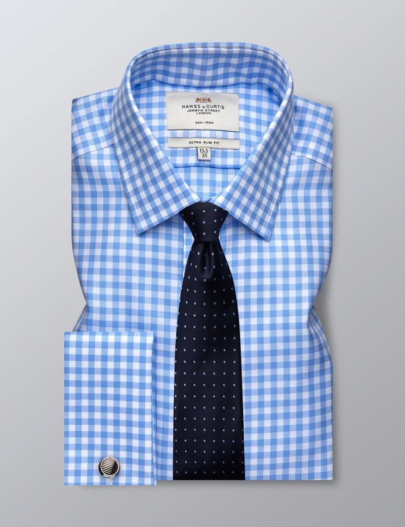 Bügelfreies Businesshemd - Extra Slim Fit - Manschetten - Strukturiertes Gingham blau
