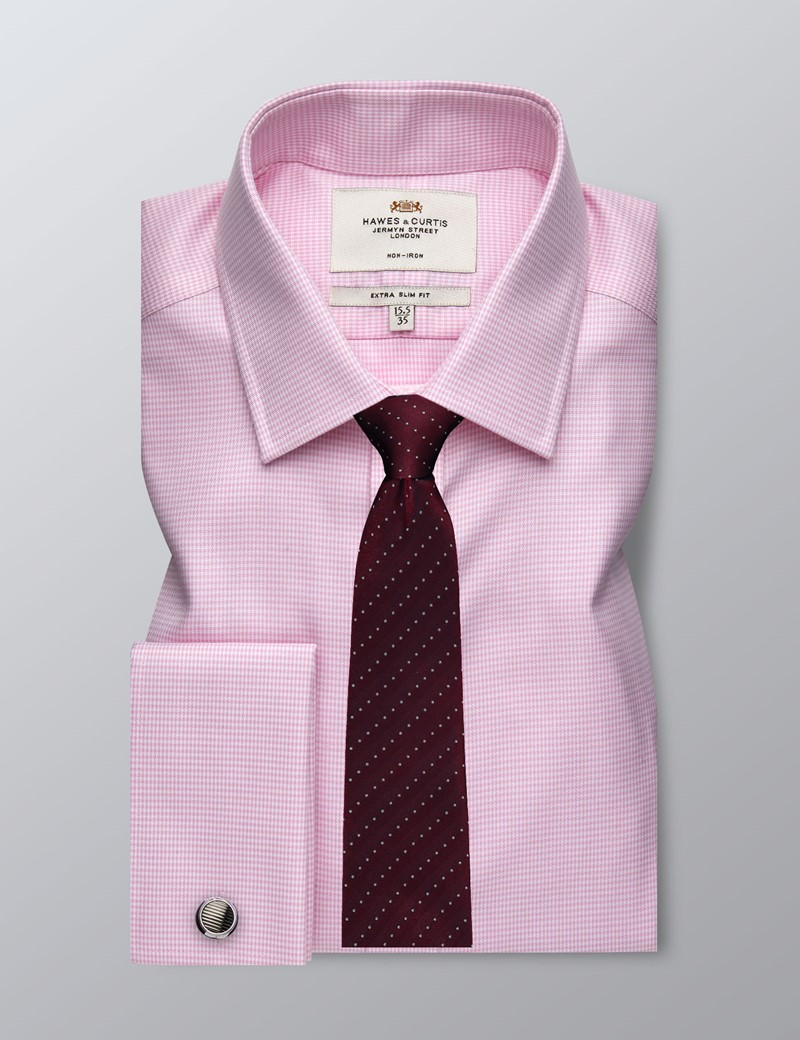 Men's Dress Pink Puppytooth Extra Slim Fit Shirt - Double Cuff - Non Iron