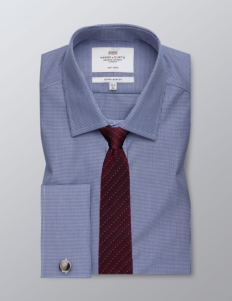 Men's Formal Navy & White Gingham Check Extra Slim Fit Shirt - Double Cuff - Non Iron