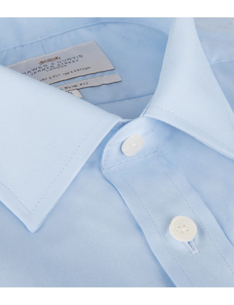 Men's Blue Poplin Extra Slim Fit Dress Shirt - French Cuff - Easy Iron