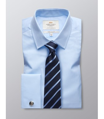 Men's  Blue Poplin Extra Slim Fit Business Shirt - Double Cuff - Easy Iron