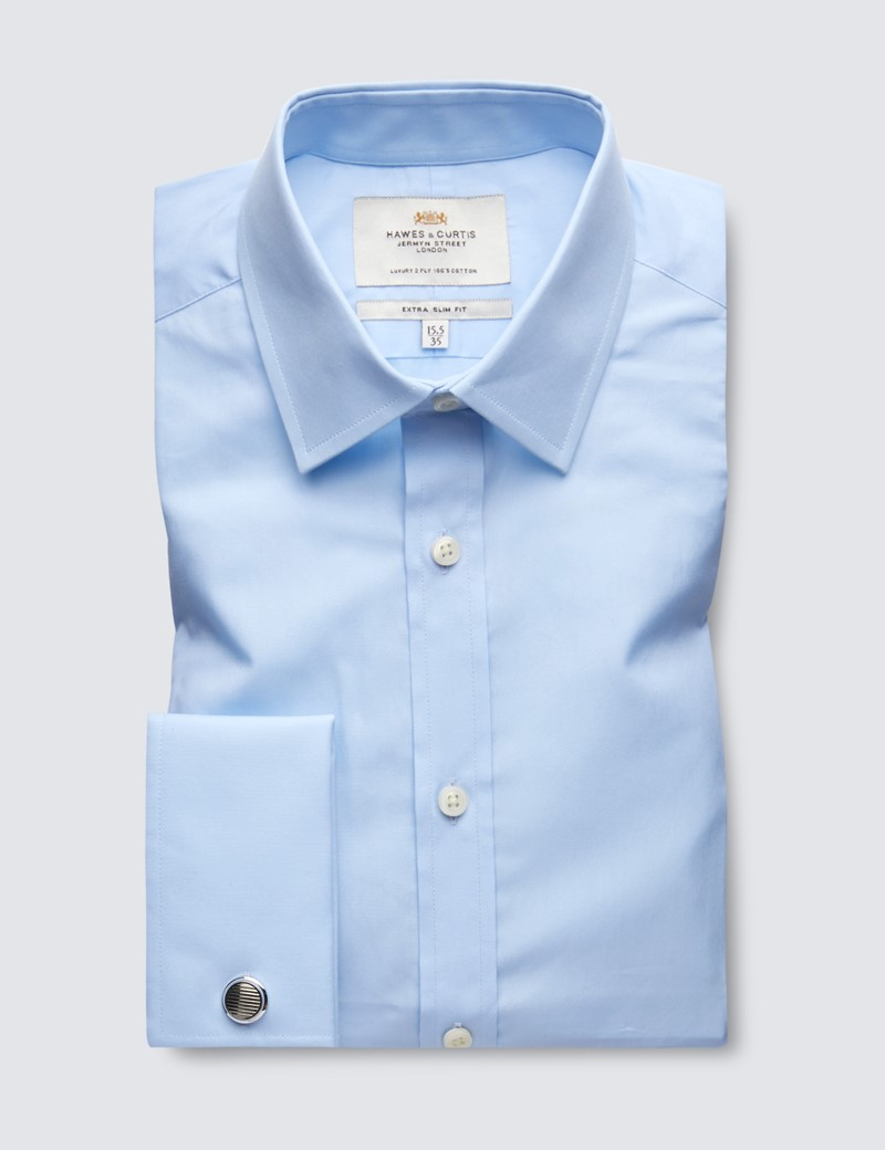 Men's Formal Blue Poplin Extra Slim Fit Shirt - Double Cuff - Easy Iron