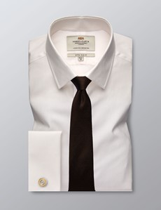 Men's Business Ivory Poplin Extra Slim Fit Shirt - Double Cuff - Easy Iron