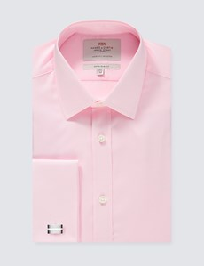 Men's Formal Pink Poplin Extra Slim Fit Shirt - Double Cuff - Easy Iron