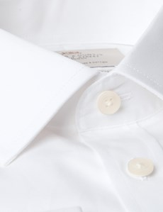 Men's Formal White Poplin Extra Slim Fit Shirt - Double Cuff - Easy Iron