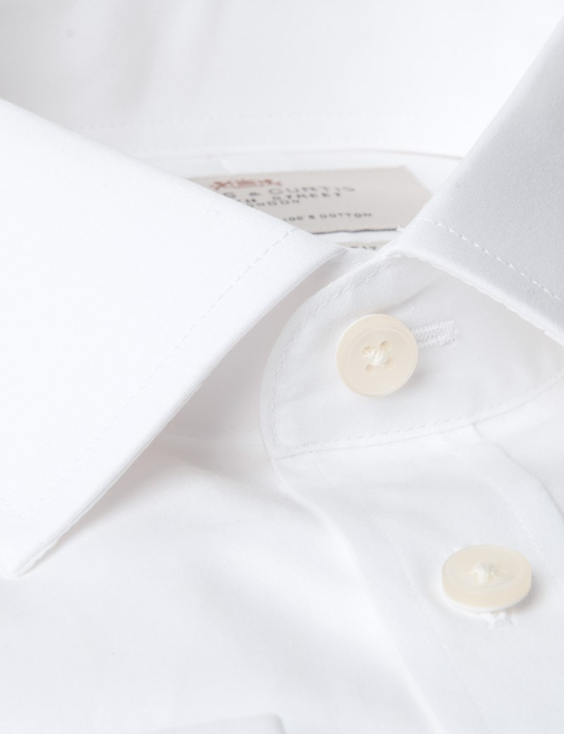 Men's White Poplin Extra Slim Fit Dress Shirt - Double Cuff - Easy Iron
