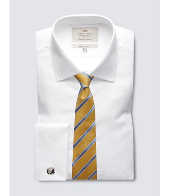 Men's  White Poplin Extra Slim Fit Business Shirt - Double Cuff - Easy Iron