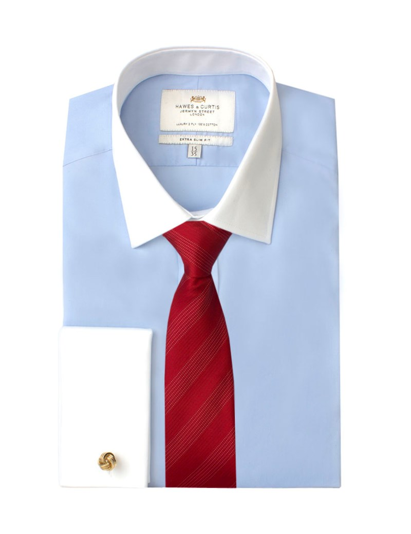 Men's Plain Blue Poplin Extra Slim Fit Shirt With White Collar & Cuff