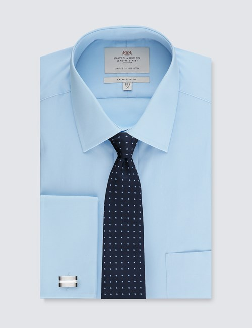 Men's Blue Extra Slim Fit Dress Shirt With Pocket - Double Cuff - Easy Iron