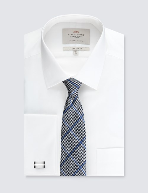 Men's White Extra Slim Fit Dress Shirt With Pocket - Double Cuff - Easy Iron