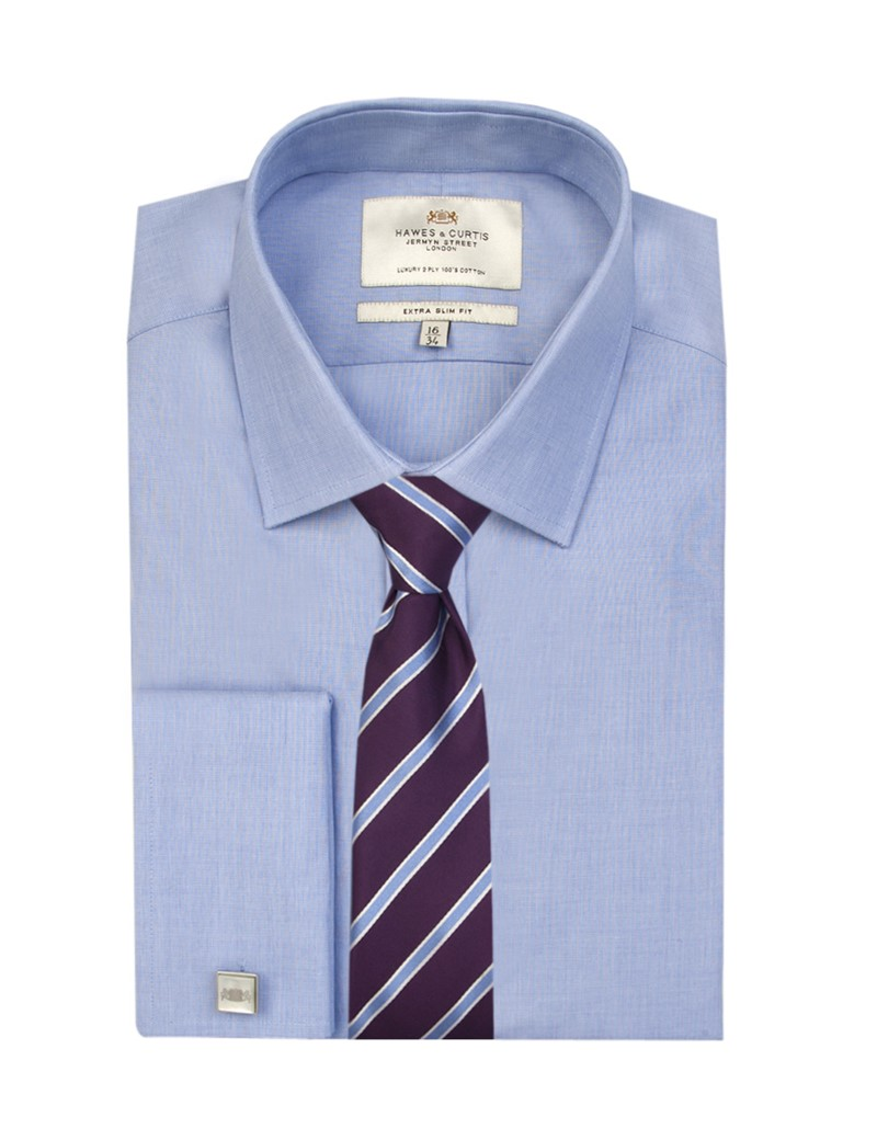 Men's Plain Blue End On End Extra Slim Fit Business Shirt - Double Cuff