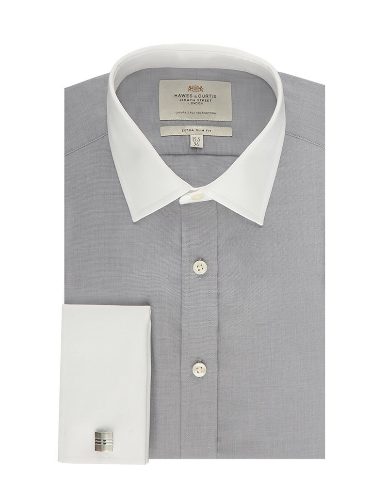 Men's Grey End On End Extra Slim Fit Dress Shirt With Contrast Collar&Cuff - Double Cuff