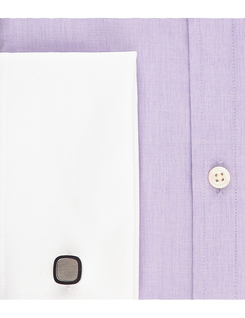 Men's Business Lilac End On End Extra Slim Fit Shirt - Double Cuff - Easy Iron