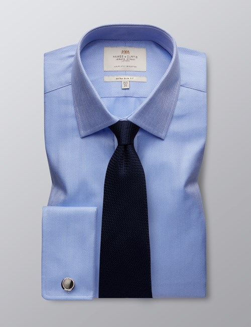 Men's Blue Herringbone Extra Slim Fit Dress Shirt - French Cuff - Easy Iron
