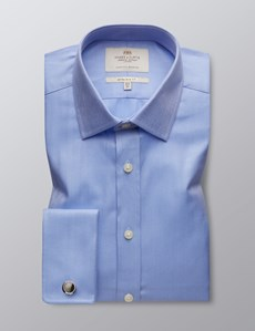 Men's Formal Blue Herringbone Extra Slim Fit Shirt - Double Cuff - Easy Iron