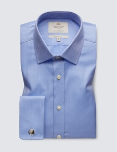 Men's Formal Blue Herringbone Extra Slim Fit Shirt - Double Cuff - Easy Iron