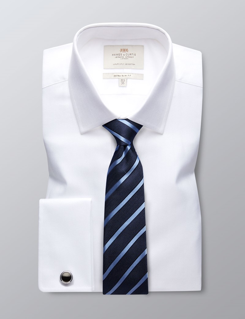 Men's Formal White Herringbone Extra Slim Fit Shirt - Double Cuff - Easy Iron