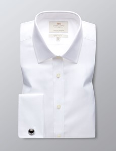 Business Hemd – Extra Slim Fit – Manschetten – Fischgrat weiß