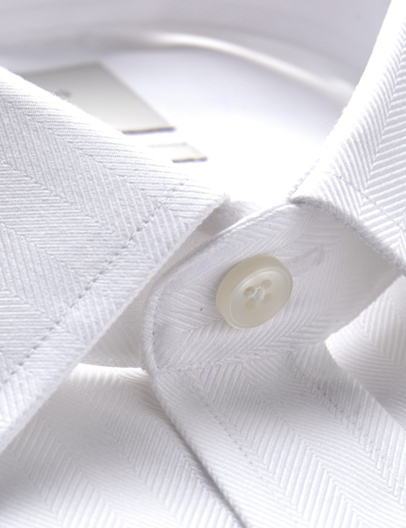 Men's Dress White Herringbone Extra Slim Fit Shirt - French Cuff - Easy Iron