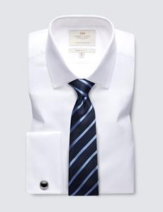 Men's Business  White Herringbone Extra Slim Fit Shirt - Double Cuff - Easy Iron