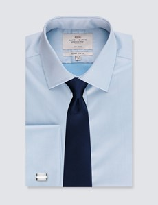 Men's Business Blue Twill Extra Slim Fit Shirt - Double Cuff - Non Iron