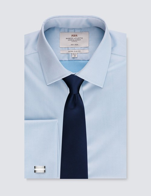 Men's Dress Blue Twill Extra Slim Fit Shirt - French Cuff - Non Iron