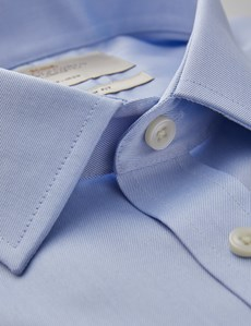 Men's Formal Blue Dobby Twill Extra Slim Fit Shirt - Double Cuff - Non Iron