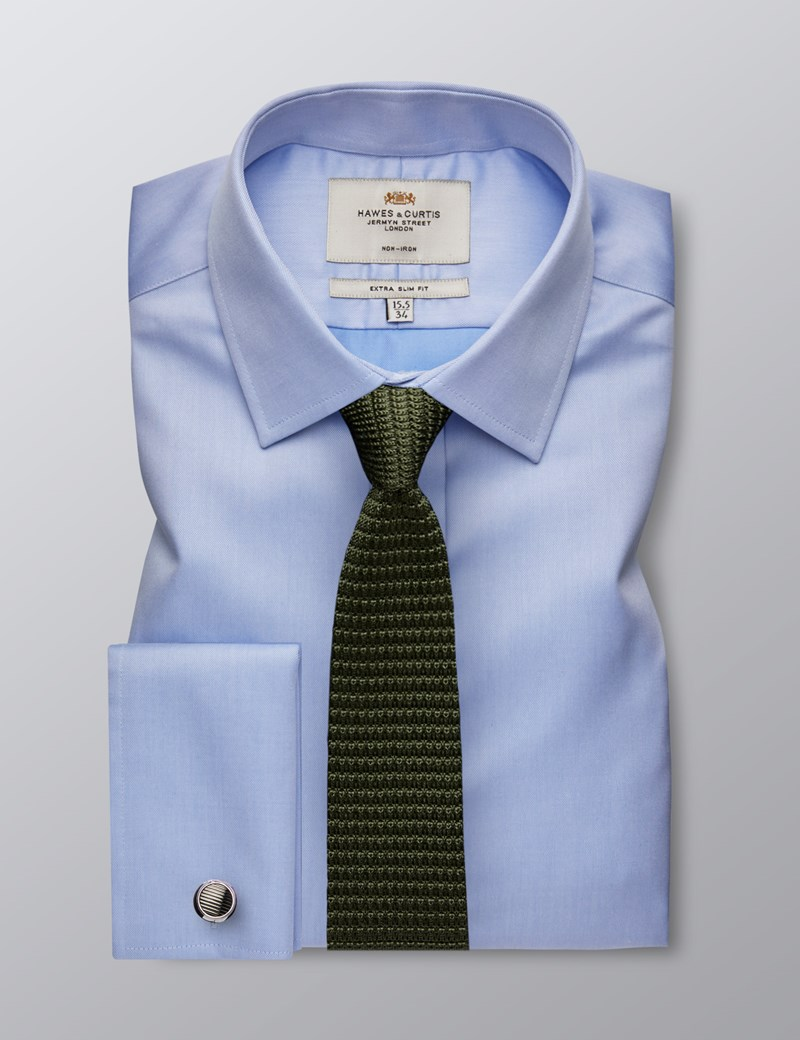 Men's Dress Blue Dobby Twill Extra Slim Fit Shirt - French Cuff - Non Iron