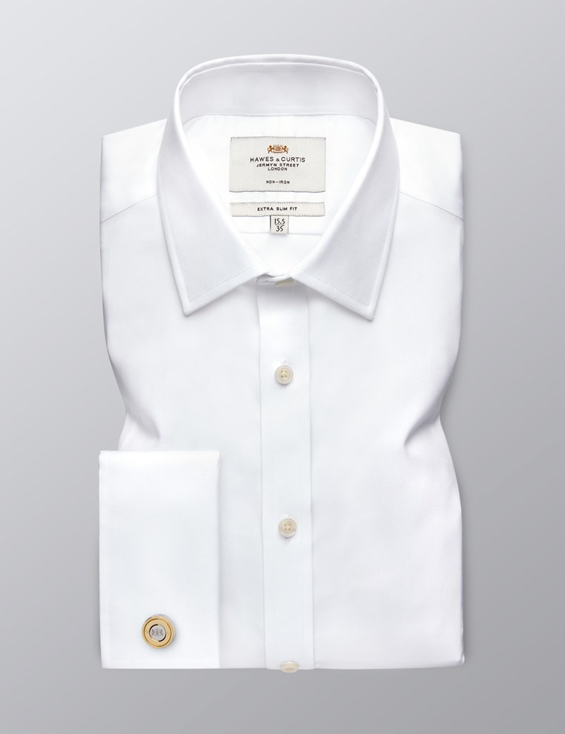 Men's Business White Twill Extra Slim Fit Shirt - Double Cuff - Non Iron