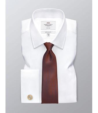 Bügelfreies Businesshemd – Extra Slim Fit – Manschetten – Twill weiß