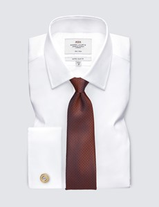 Men's Dress White Twill Extra Slim Fit Shirt - French Cuff - Non Iron
