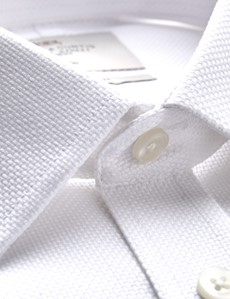 Men's Business White Fabric Interest Extra Slim Fit Shirt - Double Cuff - Non Iron