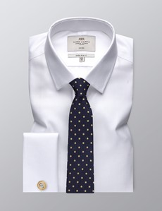 Men's Formal White Fabric Interest Extra Slim Fit Shirt - Double Cuff - Non Iron