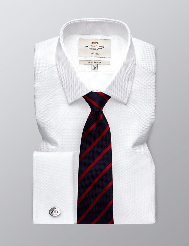 Bügelfreies Businesshemd – Extra Slim Fit – Kent Kragen – Manschetten – Wabenstruktur